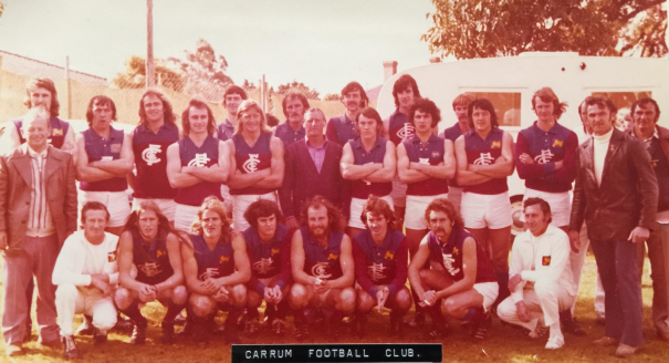 The 1974 premiership team. Ivan is in the middle in the navy cardigan, Gary next to him on the left. Leslie is again on the right of the bottom row, next to the trainer.
